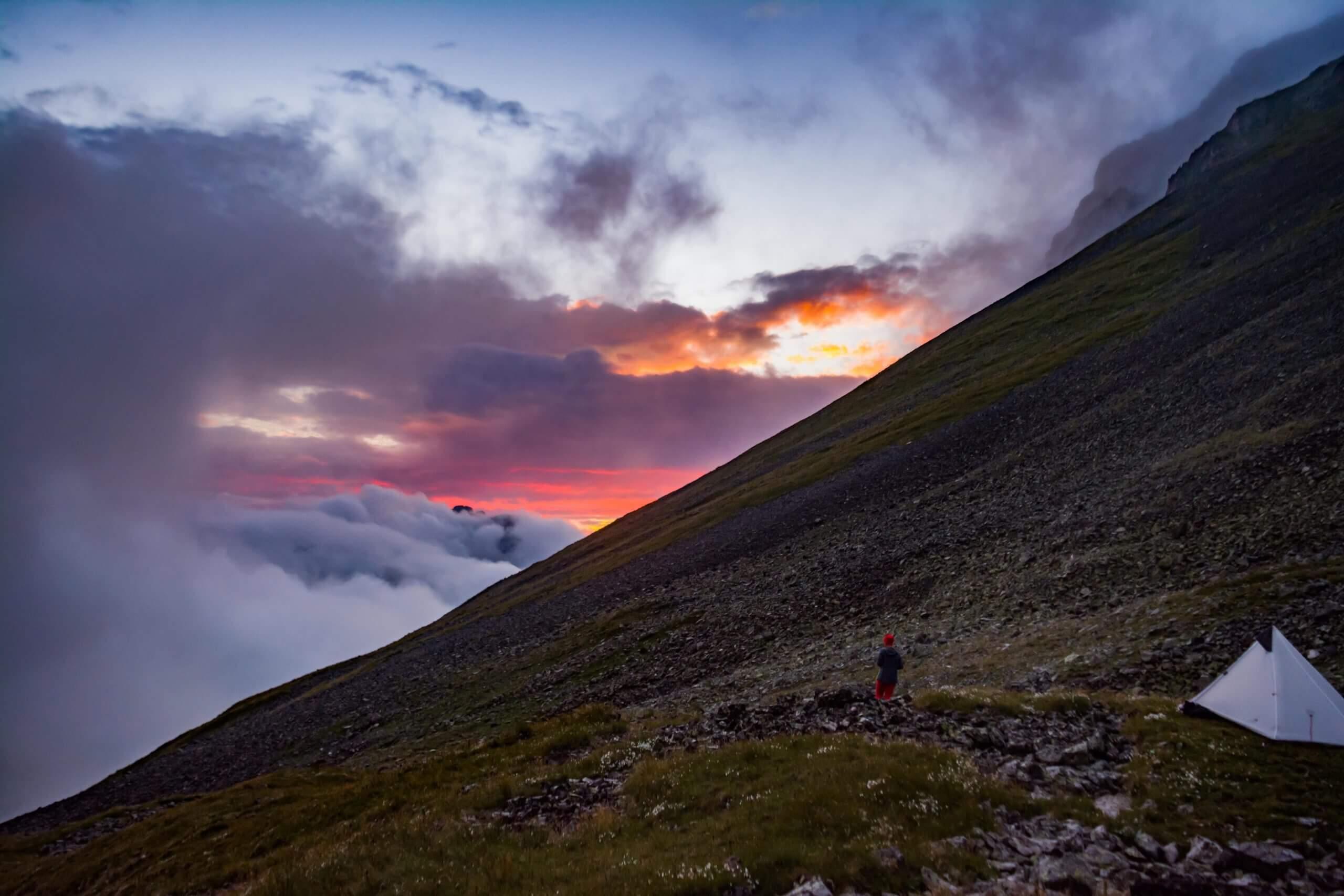 Закат на склоне горы Уруп