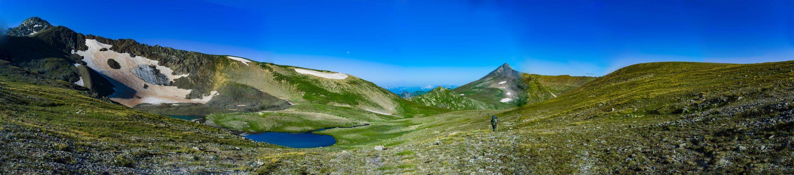 Панорама с перевала Семнадцатый Северный(1 Б, 2950 м)